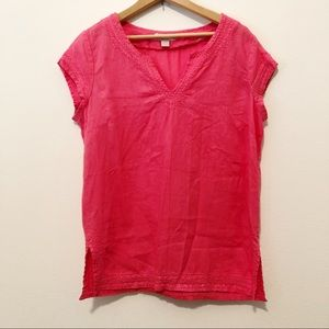St. Tropez West Pink Linen Embroidered Blouse